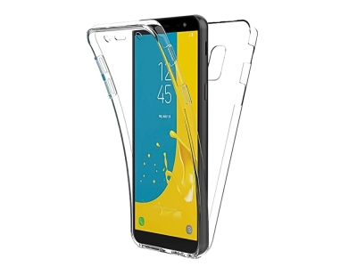 360 градуса силиконов калъф за Samsung Galaxy J6 (2018) J600, Прозрачен