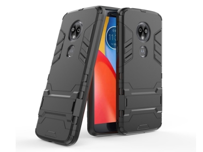 Удароустойчив гръб с Поставка за Motorola Moto G6, Черен