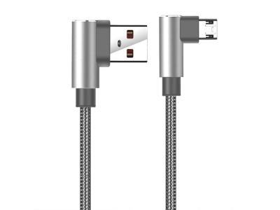 Кабел USB към Micro USB 90 градуса APO3187, Сив