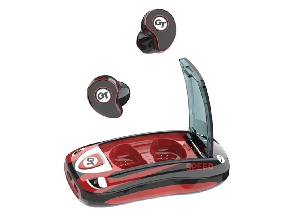 Безжични слушалки TWS T911 Bluetooth 5.0 с кутия за зареждане, Червен