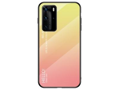 Стъклен Гръб Glass за Huawei P40 Pro, Жълт/ Розов