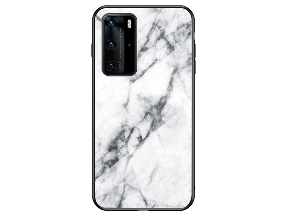 Стъклен Гръб Glass за Huawei P40 Pro, Бял мрамор