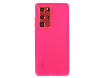 Силиконов гръб за Huawei P40 Pro, Прозрачен/ Розов