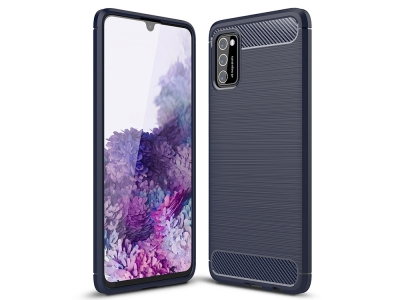 Силиконов гръб Carbon Fibre за Samsung Galaxy A41, Тъмно син
