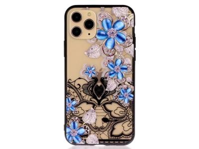 Удароустойчив гръб Lace Flower за Iphone 11 Pro, Сини цветя