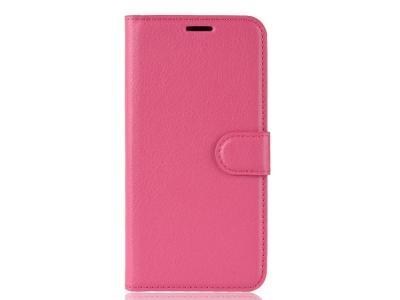 Калъф тефтер Litchi за Samsung Galaxy A41, Розов