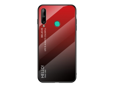 Стъклен гръб Glass за Huawei P40 Lite E/Y7P, Червен- Черен