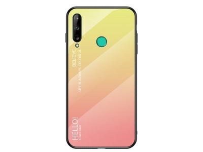 Стъклен гръб Glass за Huawei P40 Lite E/Y7P, Жълт-Розов