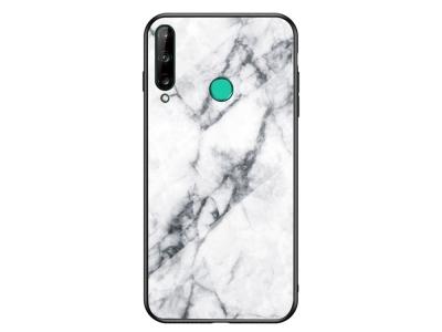 Стъклен гръб Glass за Marble Glass за Huawei P40 lite E / Y7p, Бял мрамор