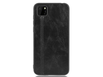 Удароустойчив гръбLeather Coated за Huawei Y5p/Honor 9S, Черен