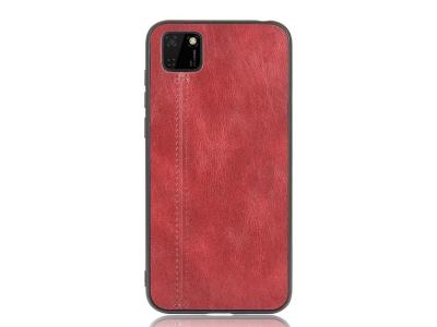 Удароустойчив гръб Leather Coated за Huawei Y5p/Honor 9S, Червен