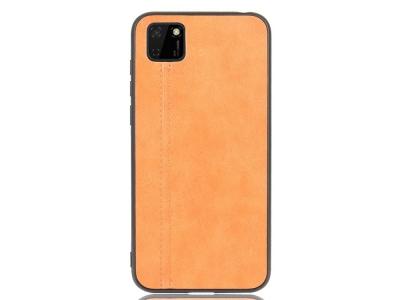 Удароустойчив гръб Leather Coated за Huawei Y5p/Honor 9S, Кафяв