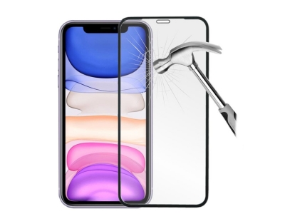 Стъклен Протектор 9D Full за iPhone XR / iPhone 11, Черен