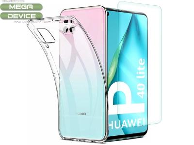 Комплект Стъклен протектор + Силиконов гръб за Huawei P40 Lite