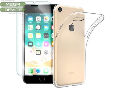 Комплект Стъклен протектор + Силиконов гръб iPhone 7 / 8 / SE 2020