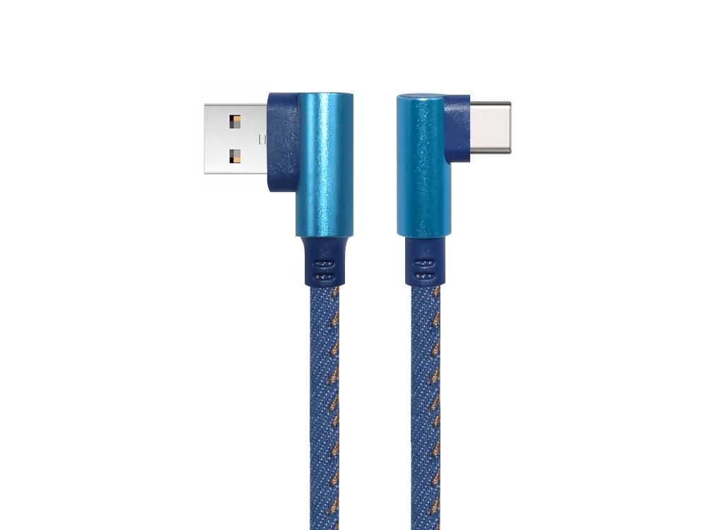 Кабел USB към Tupe C QC 3.0 Аngled 90 1m, Син