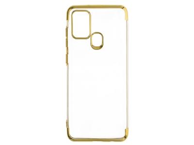 Силиконов гръб с лайстна CLEAR за Samsung Galaxy A21S, Златист