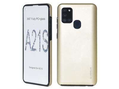 360 Градуса Калъф за Samsung Galaxy A21s, Златист