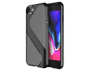 Силиконов Гръб S-shaped за iPhone SE 2nd Gen (2020)/8/7, Черен