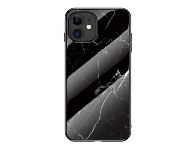 Стъклен гръб Glass за iPhone 12, Черен Мрамор