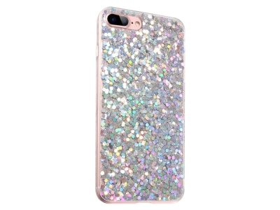 Силиконов Гръб Glitter за iPhone 7 Plus / iPhone 8 Plus, Сребрист