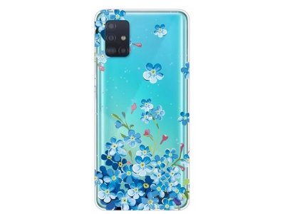 Силиконов гръб за Samsung Galaxy A31, Сини цветя