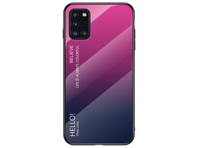 Стъклен гръб Glass за Samsung Galaxy A31, Розов- Тъмно син