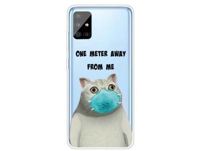 Силиконов Гръб за Samsung Galaxy A31, Котка с маска