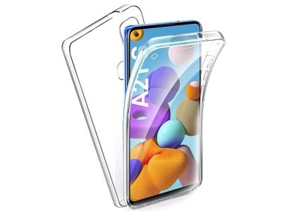 360 градуса силиконов калъф за Samsung Galaxy A21s, Прозрачен