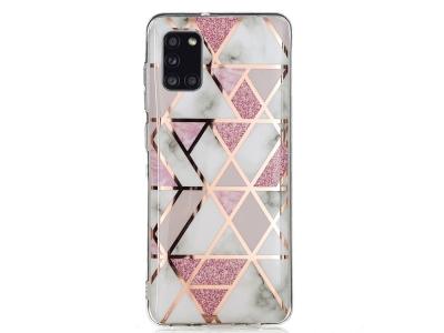 Силиконов Гръб Marble Skin за Samsung Galaxy A31, Бял-Розов