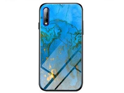 Стъклен гръб Glass за Huawei P Smart Pro (2019), Син мрамор