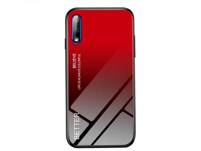 Стъклен гръб Glass за Huawei P Smart Pro (2019), Черен-Червен