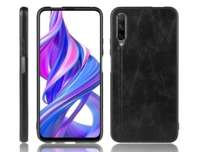 Удароустойчив гръб Leather Coated за Huawei P Smart Pro (2019), Черен