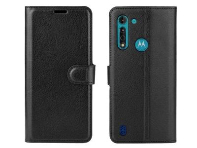 Калъф Тефтер Litchi за Motorola Moto G8 Power Lite, Черен