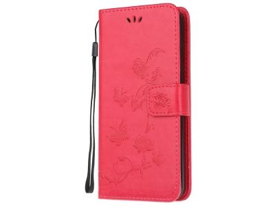 Калъф Тефтер Butterfly Flower за Samsung Galaxy M21/M30s, Червен