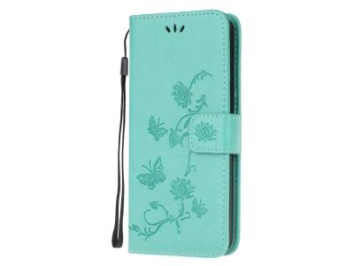 Калъф Тефтер Butterfly Flower за Samsung Galaxy M21/M30s, Син