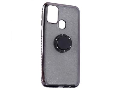 Силиконов гръб Metal Kickstand за Samsung Galaxy M31, Черен