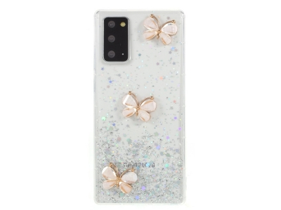 Калъф Гръб 3D Butterfly Rhinestone Decor Epoxy - Samsung Galaxy Note 20/Note 20 5G - White