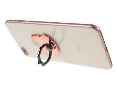Пръстенче стойка за телефон Fox, Розов/ Златист