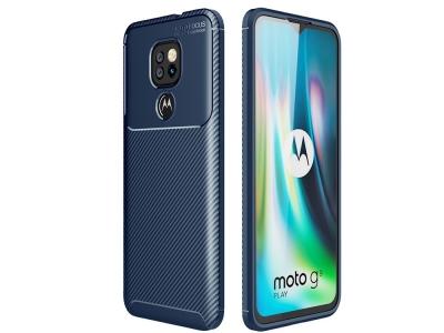 Силиконов Калъф Beetle Series Carbon Fiber - Motorola Moto G9 Play -Blue