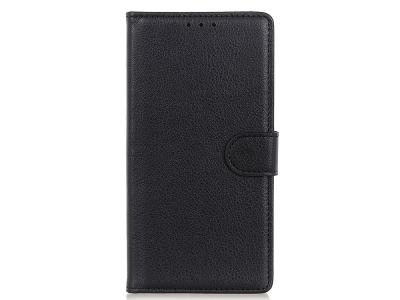 Калъф Тефтер Litchi Grain Wallet за Motorola Moto G9 Plus, Черен