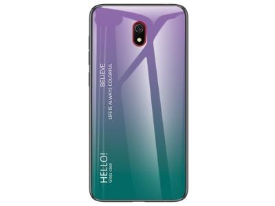 Стъклен калъф Glass за Xiaomi Redmi 8A, Лилав/ Зелен