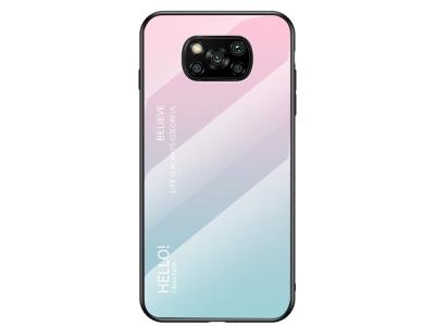 Стъклен калъф Glass за Xiaomi Poco X3 NFC, Розов/ Син