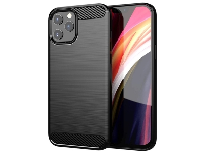 Силиконов Калъф Carbon за iPhone 12 / 12 Pro, Черен