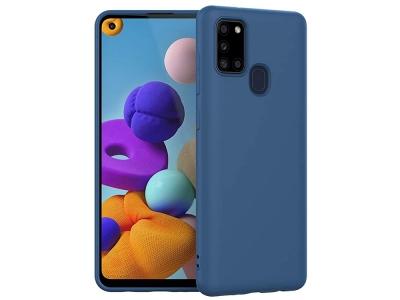 Силиконов калъф MATT за Samsung Galaxy A21s, Тъмно син