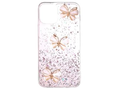 Удароустойчив калъф 3D Butterfly Rhinestone за iPhone 12 Pro/12, Розов
