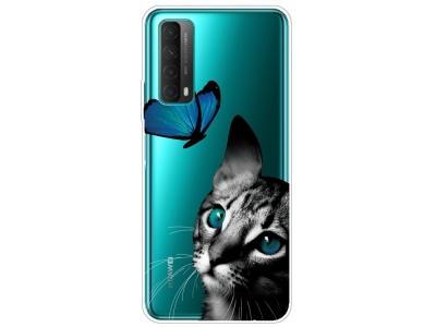 Силиконов калъф за Huawei P smart 2021 / Huawei Y7a, Коте и Пеперуда