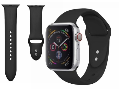 Силиконова каишка Dual Pin Buckle за Apple Watch Series 5 4 44mm, Series 3/2/1 42mm, Черен