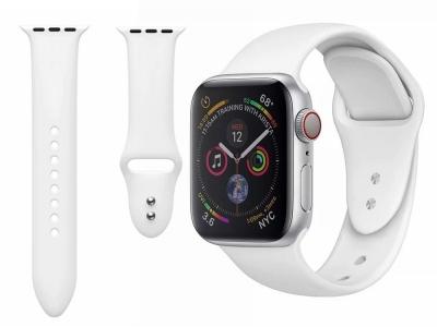 Силиконова каишка Dual Pin Buckle за Apple Watch Series 5 4 44mm, Series 3/2/1 42mm, Бял