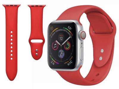 Силиконова каишка Dual Pin Buckle за Apple Watch Series 5 4 44mm, Series 3/2/1 42mm, Червен
